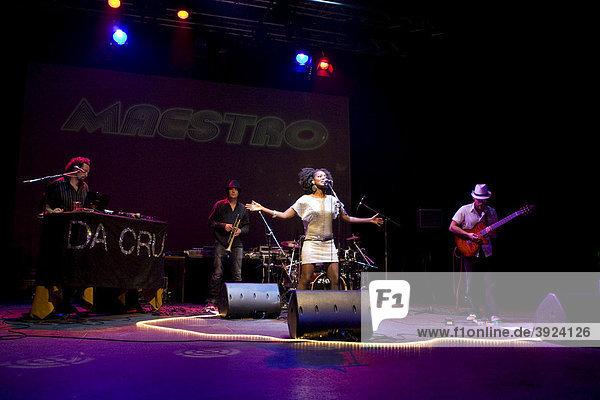 Brazilian-Swiss band Da Cruz performing live at the Theatre La Fourmi  Lucerne  Switzerland  Europe
