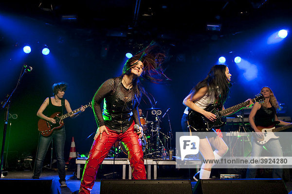 The German women AC/DC cover band Hells Belles live at the Schueuer concert hall  Lucerne  Switzerland