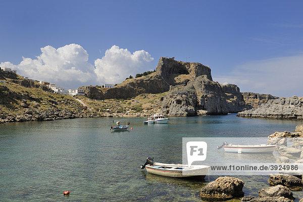 Apostel-Paulus Bucht  Agios Pavlos Bay  Lindos  Rhodos  Griechenland  Europa