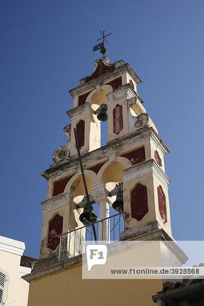 Glockenturm einer griechisch-orthodoxen Kirche  Korfu  Griechenland  Europa
