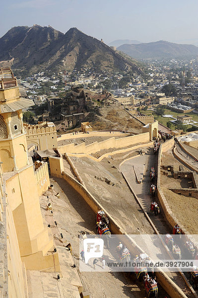 View from the Palace of Amber  Amber  near Jaipur  Rajasthan  North India  India  South Asia  Asia