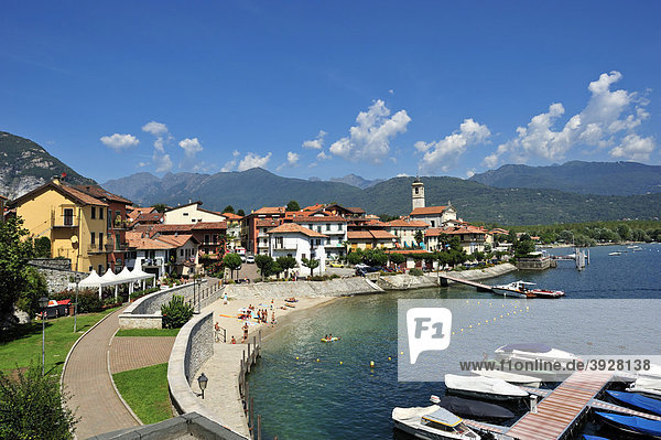 Townscape with port and beach  Feriolo  Lake Maggiore  Piedmont  Italy  Europe