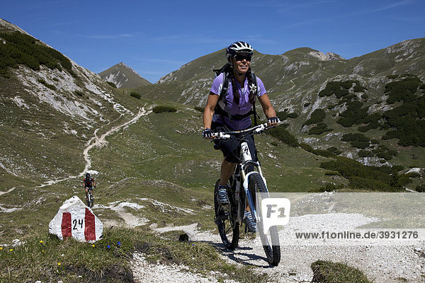 Mountain bike riders on a trail with sign-posting  Parco naturale Fanes-Sennes-Braies  Veneto  South Tyrol  Italy  Europe