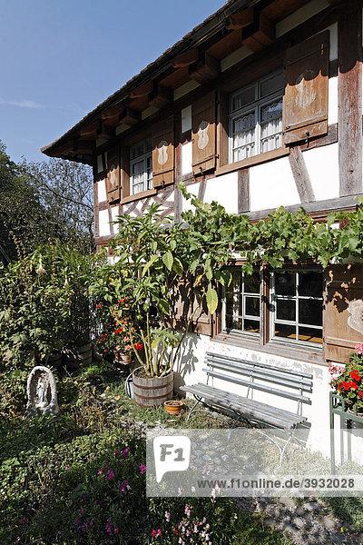 Hof Reisch von 1780  oberschwäbischer Eindachhof  Bauernhaus-Museum Wolfegg  Allgäu  Oberschwaben  Baden-Württemberg  Deutschland  Europa