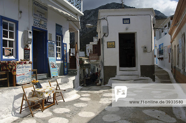 Gasse in Olympos  Insel Karpathos  Ägäische Inseln  Ägäis  Dodekanes  Griechenland  Europa