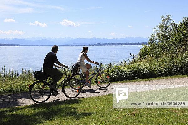 Radfahrer am Starnberger See bei Feldafing  Fünfseenland  Oberbayern  Bayern  Deutschland  Europa