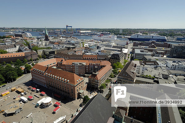 View over the city of Kiel towards the inner fjord with a docked cruise ship and the ferries of the Stena Line for Swedish connections and ColorLine for Norwegian connections  Schleswig-Holstein  Germany  Europe