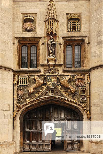 Haupteingang vom Christs College  St. Andrews Street  Cambridge  Cambridgeshire  England  Großbritannien  Europa
