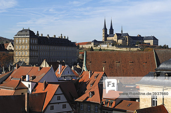 View from the tower of Geyerswoerth Schloss Geyerswoerth castle  Geyerswoerthstrasse 1  on the city  in the back left the Neue Residenz palace  in the upper right the St. Michael church  Bamberg  Upper Franconia  Bavaria  Germany  Europe