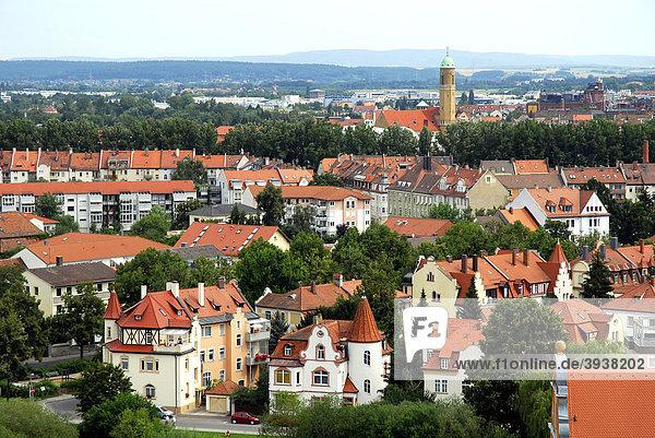 Panorama-Blick über die Stadt  Aussichtsterrasse auf dem Michaelsberg  UNESCO-Welterbe Bamberg  Oberfranken  Bayern  Deutschland  Europa