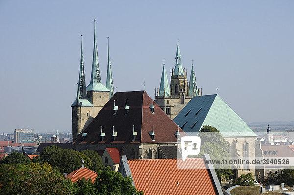 Severikirche und Mariendom  Erfurt  Freistaat Thüringen  Deutschland  Europa