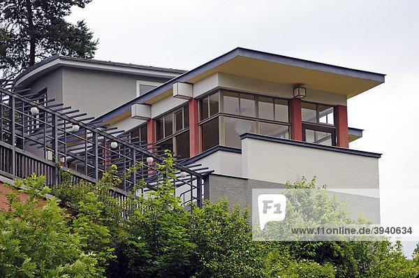 Teehaus des Bauhaus-Architekt Alfred Arndt im Haus des Volkes  Probstzella  Thüringen  Deutschland  Europa