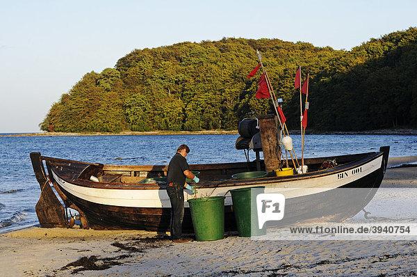 Fischer reinigt seine Netze im Abendlicht  Ostseebad Binz  Insel Rügen  Mecklenburg-Vorpommern  Deutschland  Europa