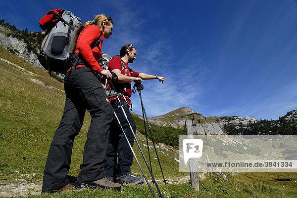 Wanderer  Frau und Mann  mit Tourenrucksack und Trekkingstöcken  stehen auf Wanderweg und schauen zur Heidachstellwand  2192m  Rofan  Achensee  Tirol  Österreich  Europa