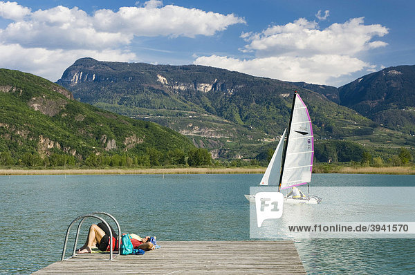 Sailboat on Lake Caldaro  Merano  Alto Adige  Italy  Europe