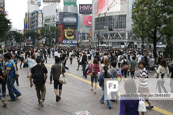 Fußgänger in Shibuya  Tokio  Japan  Asien