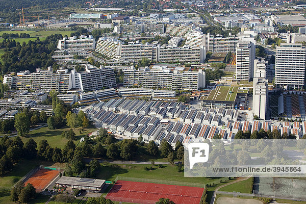 Former Olympic Village  view from the Olympic Tower in Munich  Bavaria  Germany  Europe
