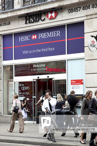 Subsidiary of the HSBC bank on Oxford Street in London  England  United Kingdom  Europe