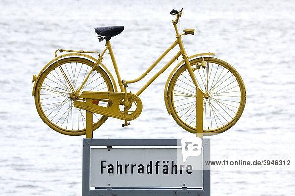 Hinweisschild für eine Fahrradfähre über den Rhein in Walluf im Rheingau  Hessen  Deutschland  Europa Hinweisschild für eine Fahrradfähre über den Rhein in Walluf im Rheingau, Hessen, Deutschland, Europa