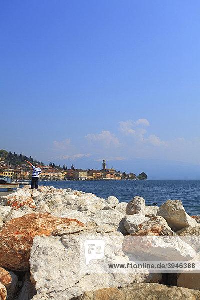 Rocks  looking towards SalÚ on Lake Garda  Italy  Europe