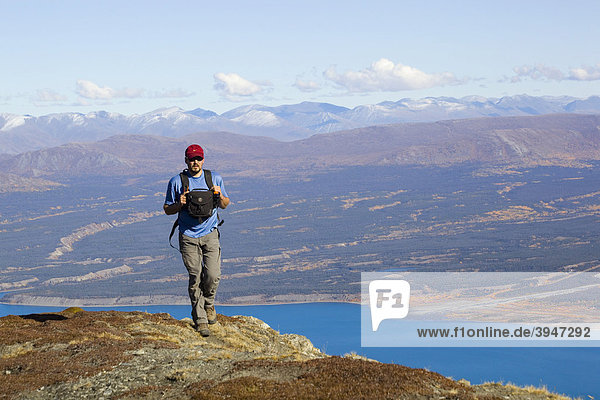 Wanderer  Blick vom Sheep Mountain auf Kluane Lake  Kluane Plateau  Shakwak Trench  Ruby Range  Kluane Nationalpark und Reservat  Yukon Territory  Kanada