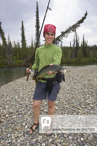 Junge Frau beim Angeln  präsentiert ihren Fang  große Arktische Äsche (Thymallus arcticus)  oberer Liard River  Yukon Territory  Kanada