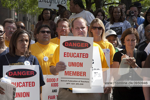 Detroit public school teachers rally against demands for wage cuts and other concessions  Detroit  Michigan  USA