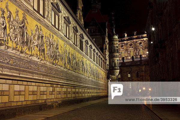 Fuerstenzug  Princes' Procession  on the north wall of Dresden Stallhof  Dresden  Saxony  Germany  Europe