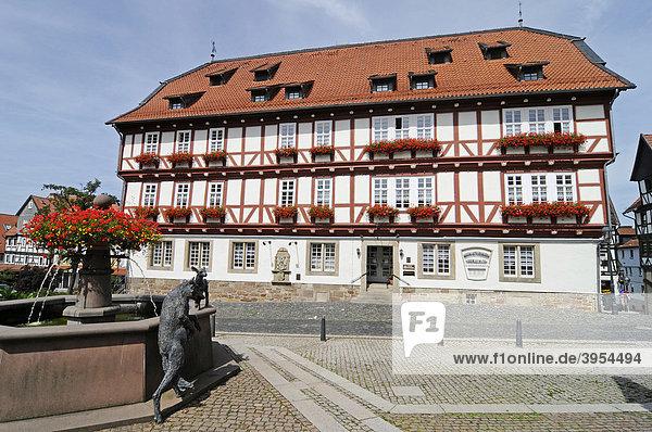 Historisches Rathaus  Brunnen  Marktplatz  Fachwerk  Wolfhagen  Naturpark Habichtswald  Hessen  Deutschland  Europa
