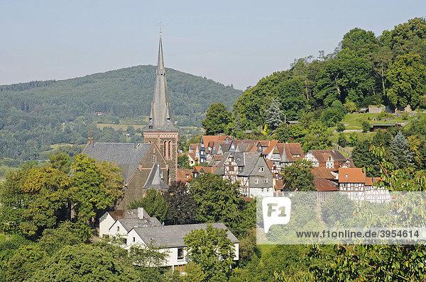 Evangelische Stadtkirche  Stadtübersicht  Biedenkopf  Hessen  Deutschland  Europa