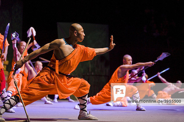 Shaolin monks during a show on the 22nd of March 2009 in Berlin  Germany