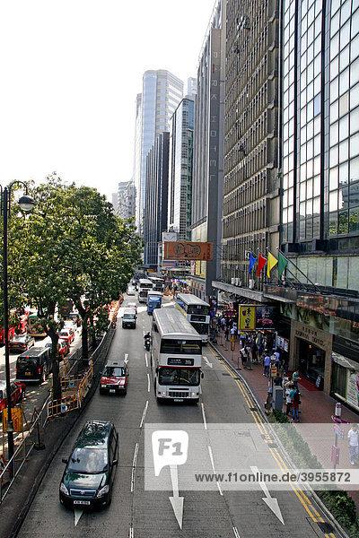 Straße in Kowloon  Hochhäuser  Hong Kong  Hongkong  China  Asien