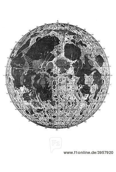 Holzschnitt  erste detaillierte Mondkarte mit Meeren  gebirgigen Teilen  Mondkratern und Gradnetz  Johann Tobias Mayer  1775
