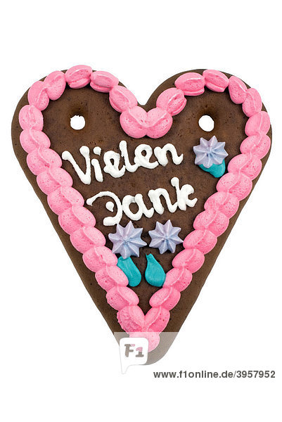 Historical illustration  gingerbread heart with the message  Vielen Dank  German for Thank You