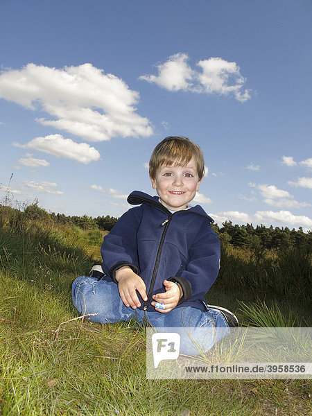 Little boy  2 years  sitting in the grass  Lueneburger Heide  Lueneburg Heath  Lower Saxony  Germany  Europe