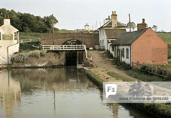 Foxton Staircase Locks  Grand Union Canal  near Market Harborough  Leicestershire  England  United Kingdom  in late 60s