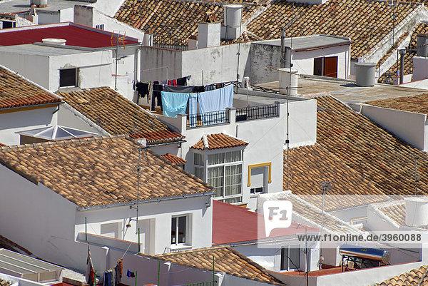 Dächer des Pueblo Blanco oder Weißen Dorfes Olvera  Andalusien  Spanien  Europa