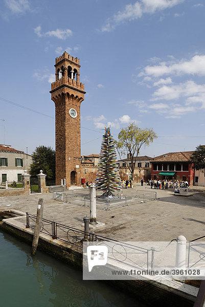 Fondamento Daniele Manin  Campanile an der Piazza Santo Stefano  Insel Isola Murano  bei Venedig  Venezia  Italien  Europa