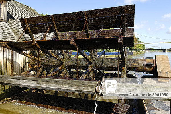 Mill wheel  ship-mill grinder in the Weser River  Minden  North Rhine-Westphalia  Germany  Europe