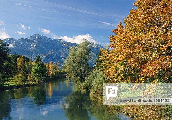 Loisach unter Herzogstand und Heimgarten Oberbayern  Bayern  Deutschland  Europa