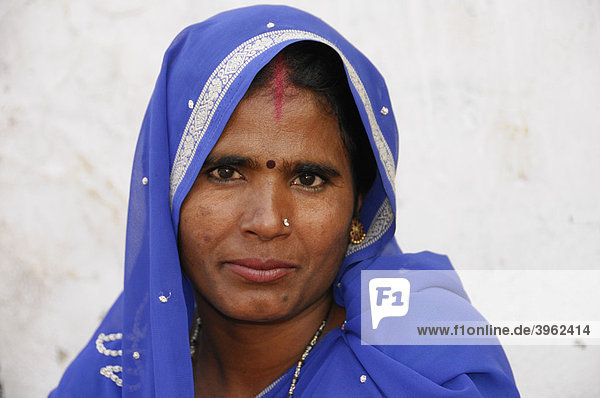 Portrait of a young Indian woman  Jaipur  Rajasthan  North India  Asia