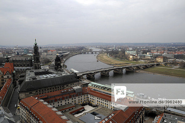 View towards northwest and Augustusbruecke bridge from the Frauenkirche  Church of Our Lady  Dresden  Saxony  Germany  Europe