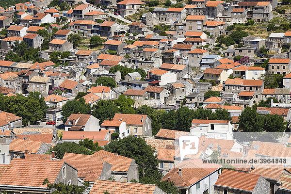 Dächer von Blato auf der Insel Korcula  Dubrovnik Neretva  Dalmatien  Kroatien  Europa
