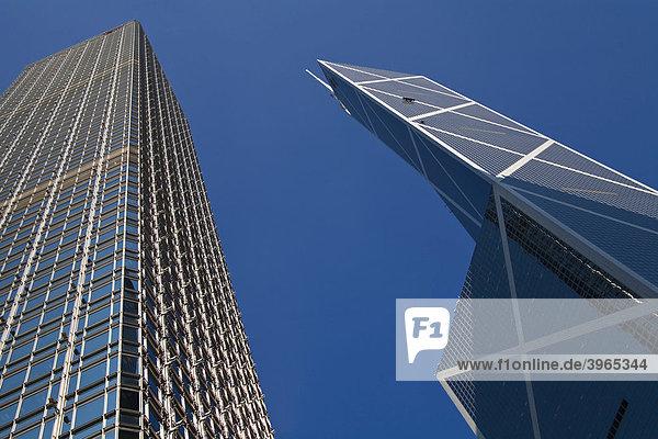 Hochhausfassaden  Bank of China  rechts  und The Hong-Kong Bank  links  Hongkong  China  Asien