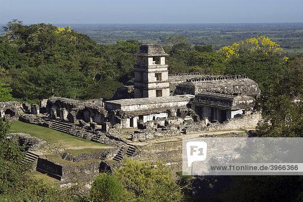 Palenque  Der Palast  Welterbe der UNESCO  Yucatan  Mexiko