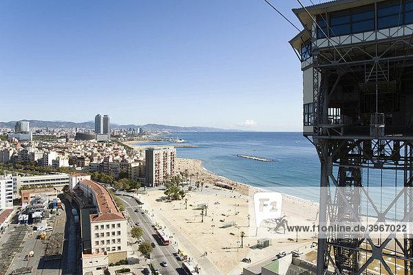 Aussicht über San Sebastia Strand  Barcelona  Katalonien  Spanien  Europa