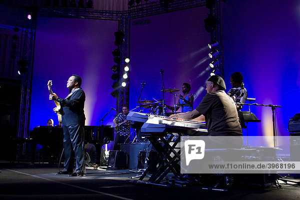 US jazz guitarist and singer George Benson with his band  live at the Blue Balls Festival in the concert hall of the KKL Lucerne  Switzerland