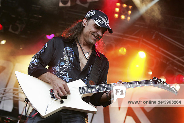 Matthias Jabs  guitarist of the German rock band Scorpions  live at the Spirit of Music Open Air in the Uster football stadium near Zurich  Switzerland