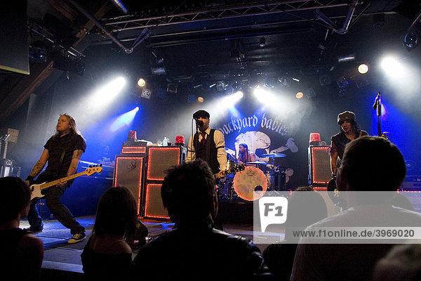 Swedish rock band Backyard Babies performing live at Schueuer concert hall  Lucerne  Switzerland  Europe