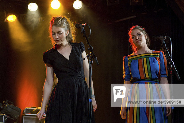 Swiss singers and musicians Valeska Steiner  left  and Priska Zemp  known as Heidi Happy  performing live during the music project Song Circus hosted by Coal & Band at Schueuer concert hall  Lucerne  Switzerland  Europe